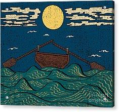 Wavy Sea Water Landscape Depicting Boat Acrylic Print