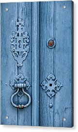 Weathered Blue Door Lock Acrylic Print