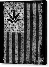 Weed Leaf American Flag Us Acrylic Print