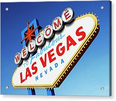 Welcome To Las Vegas Sign, Low Angle Acrylic Print by Steven Puetzer
