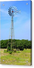 Acrylic Print featuring the photograph West Texas Windmill A9718 by Mas Art Studio