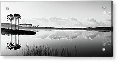 Western Lake Misty Morning Panorama Black $ White Acrylic Print