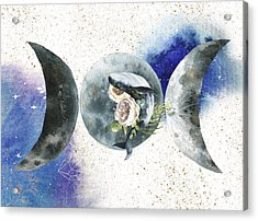 Acrylic Print featuring the digital art Whale Goddess by Bee-Bee Deigner