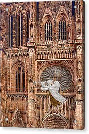 White Angel Decorations On Shops At The Christmas Market Acrylic Print