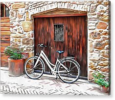 Acrylic Print featuring the photograph White Bicycle Pienza by Dorothy Berry-Lound