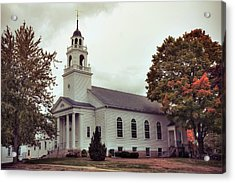 Acrylic Print featuring the photograph White Church In Fall - Hollis Nh by Joann Vitali
