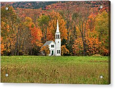 Acrylic Print featuring the photograph White Country Church In Autumn - Wonalancet Union Chapel  by Joann Vitali