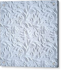 White Embossed Flowers Pattern Acrylic Print by Wacomka
