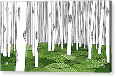 White Forest And Green Meadow, Line Art Acrylic Print