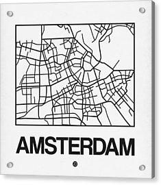 White Map Of Amsterdam Acrylic Print