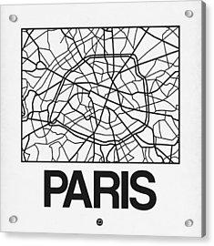 White Map Of Paris Acrylic Print