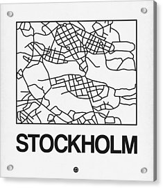 White Map Of Stockholm Acrylic Print