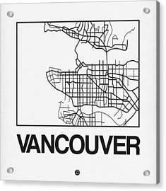 White Map Of Vancouver Acrylic Print