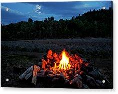 White Mountains Moonlit Campfire Acrylic Print