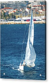 White Sailboat At Cannes Acrylic Print by Tony Grider
