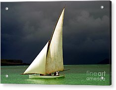 White Sailed Pirogue On The Ocean Acrylic Print