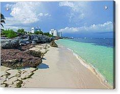 White Sandy Beach Of Cancun Acrylic Print