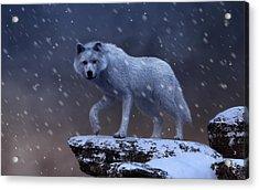 Acrylic Print featuring the digital art White Wolf In A Blizzard by Daniel Eskridge