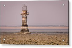 Whiteford Point Lighthouse In Pink Acrylic Print