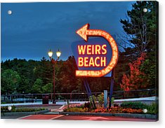 Acrylic Print featuring the photograph Wiers Beach Sign - Laconia, Nh by Joann Vitali