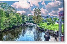 Willimantic River With Clouds Acrylic Print
