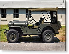 Acrylic Print featuring the photograph Willys Jeep Usa With Canopy At Fort Miles by Bill Swartwout Fine Art Photography