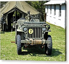 Acrylic Print featuring the photograph Willys Jeep With Machine Gun At Fort Miles by Bill Swartwout Fine Art Photography