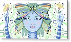 Insect Girl, Winga - White Acrylic Print