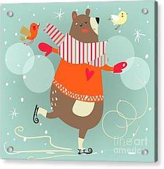 Winter Cartoon Bear Acrylic Print
