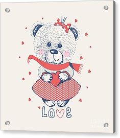 Winter Girl Bearhand Drawn Vector Acrylic Print