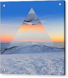 Winter Mountain Landscape At Sunset Acrylic Print