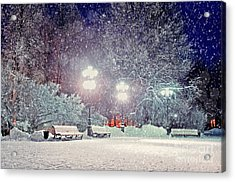 Winter Night Landscape -  Evening In Acrylic Print
