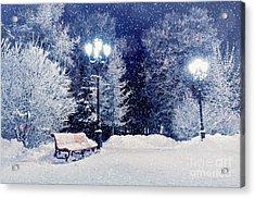 Winter Night Landscape Scene Of Snow Acrylic Print