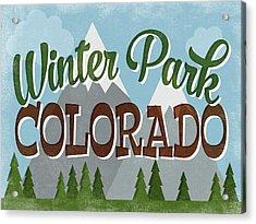 Winter Park Colorado Retro Mountains Acrylic Print