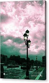 Winter Venice Lantern On The Embankment Acrylic Print