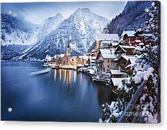 Winter View Of Hallstatt, Traditional Acrylic Print