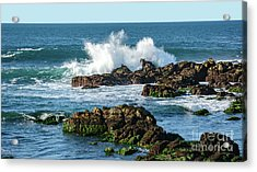 Winter Waves Hit Ancient Rocks No. 2 Acrylic Print