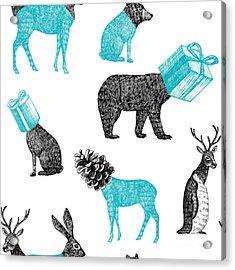 Winter Xmas Illustration Of Trendy Hand Acrylic Print