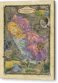Wisconsin Mississippi River Driftless Region Map Hand Painted Lisa Middleton Acrylic Print