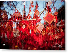 Wish Cards In A Buddhist Temple In Acrylic Print