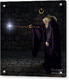 Wizard In A Purple Robe And Wizard Hat Acrylic Print