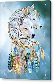 Acrylic Print featuring the mixed media Wolf Dreams by Carol Cavalaris