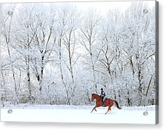 Woman And Her Horse Cantering In Fresh Acrylic Print