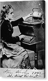 Woman At A Typewriter Acrylic Print by Hulton Archive
