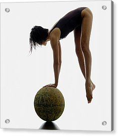 Woman Balancing On Globe Acrylic Print by Alfonse Pagano
