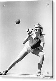 Woman Catching A Baseball Acrylic Print