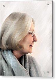 Woman In Grey Acrylic Print