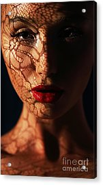 Woman In Shadows With Reflection Of Acrylic Print