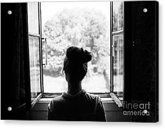 Woman Looking Through The Old Window On Acrylic Print