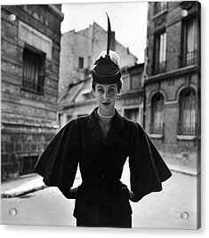 Woman Modeling A Full Sleeved Suit Acrylic Print by Gordon Parks